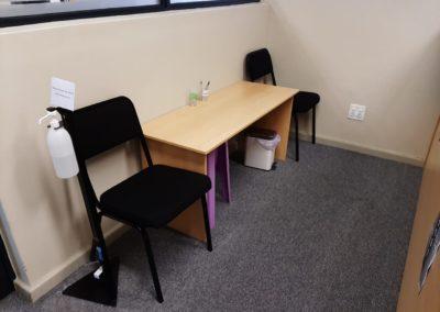 Dedicated reception area and social distancing